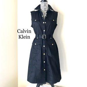 Classic Black Khaki Trench Dress